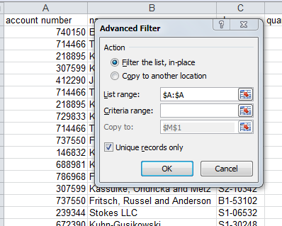 Excel filter example