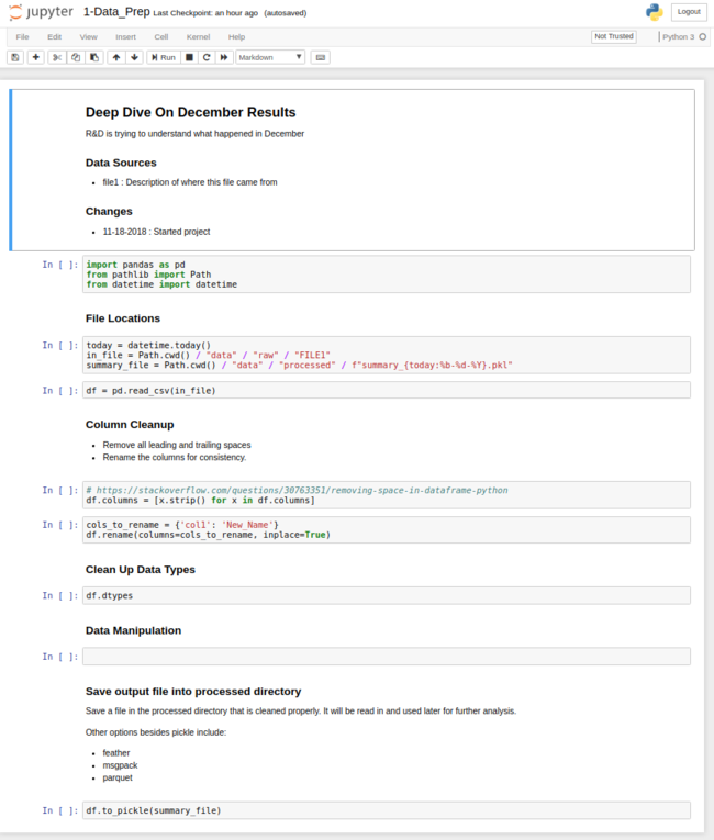 Building a Repeatable Data Analysis Process with Jupyter Notebooks