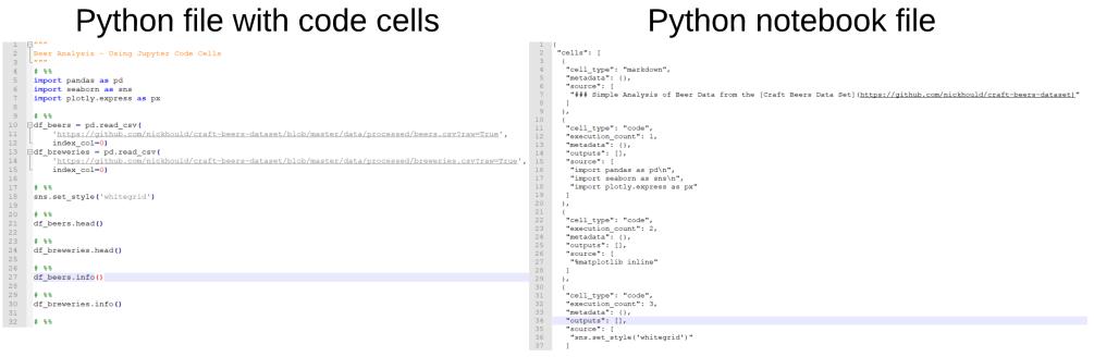 Notebook vs python file comp