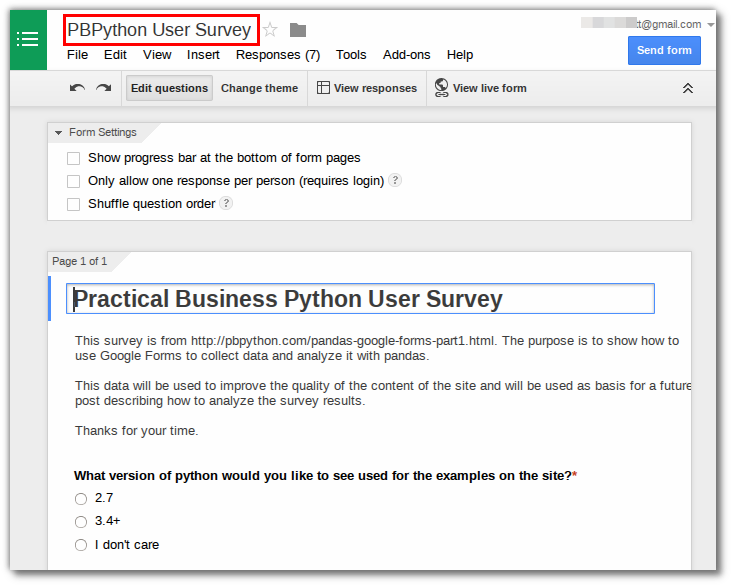 Collecting Data with Google Forms and Pandas - Practical